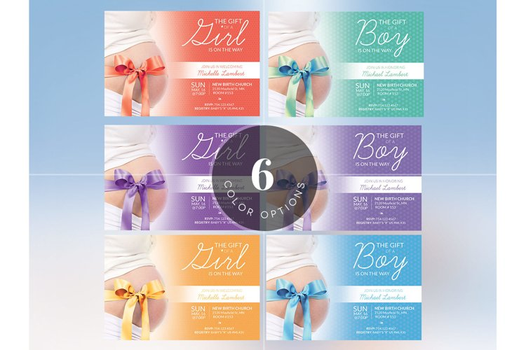 Baby Shower Invitation Photoshop Template example 5