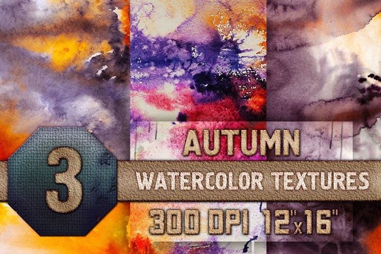 3 Autumn Halloween Digital Papers Watercolor Fall Textures example image 1