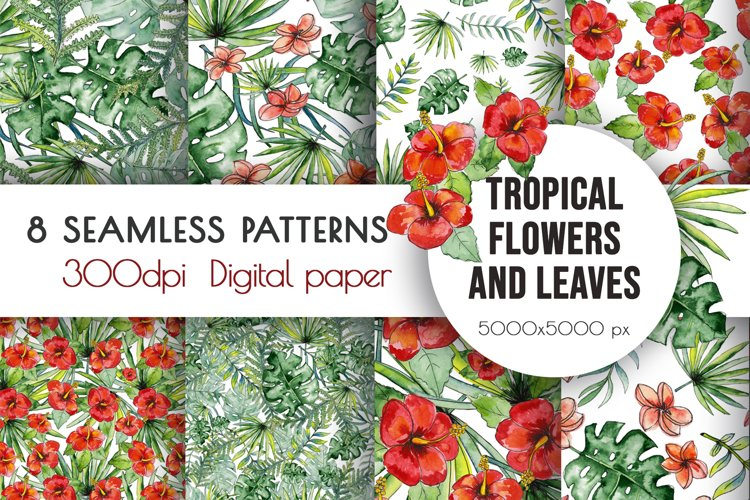 Watercolor tropical leaves & flowers seamless pattern. example image 1