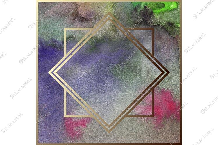 Download Watercolor Art Deco Golden Geometric Metal Frame Border 866031 Decorations Design Bundles