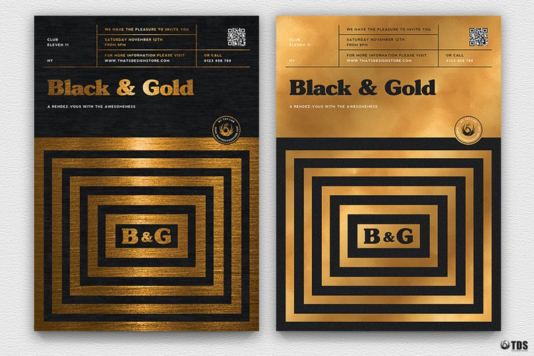 Minimal Black and Gold Flyer Template V9 example image 1