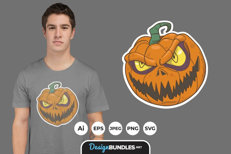 Scary Monster Pumpkin for T-Shirt Design example image 1
