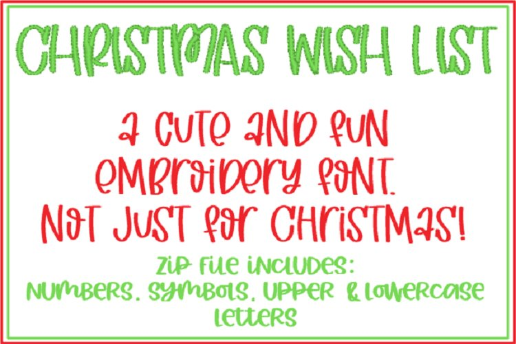 CHRISTMAS WISH LIST EMBROIDERY FONT example image 1