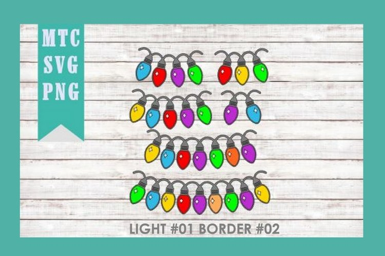 Christmas Light #01 BORDER #02 SVG Cut File Bundle
