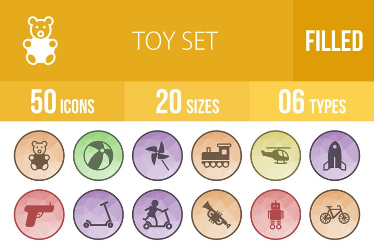 50 Toy Set Filled Low Poly Icons example image 1