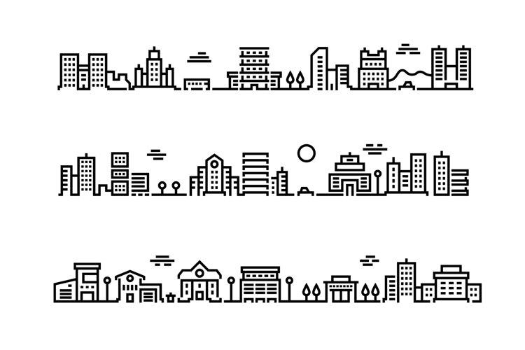 City outline landscape. Cityscape with business centers and