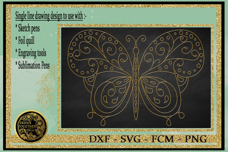Butterfly 1 - Single line for Foil Quill, Digi Stamp