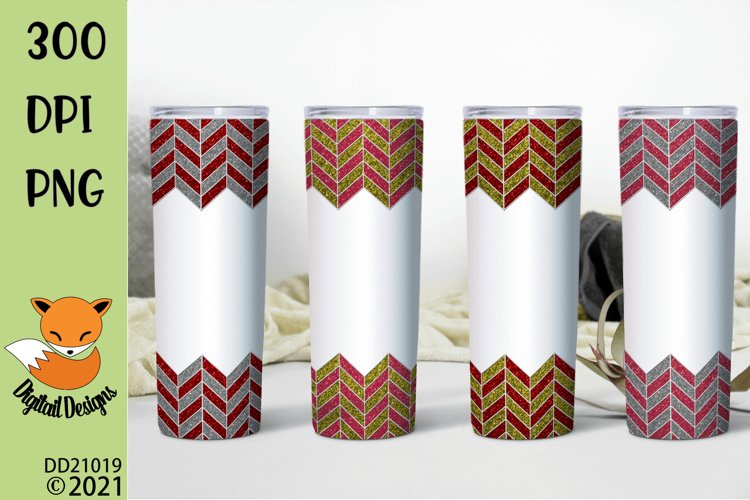 Glitter Chevron Pink and Red Tumbler Sublimation Bundle