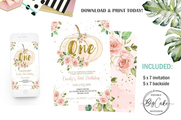 Pumpkin 1st Birthday Invitation Floral Pink and gold Girl example image 1
