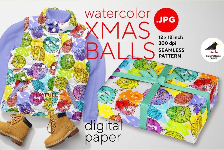 Xmas balls watercolor digital paper pattern for print, wrap