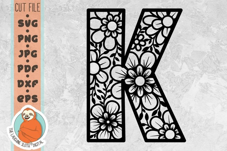 Flower Filled Letter K SVG - Floral Letter Cut File