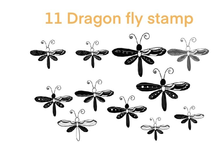 Procreate brushes 11dragonfly stamp