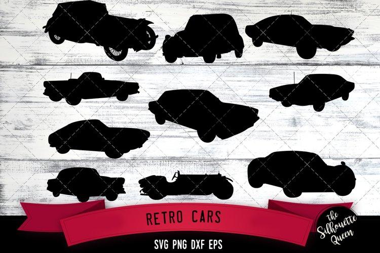 Retro Cars svg file, auto svg cut file, silhouette studio example image 1
