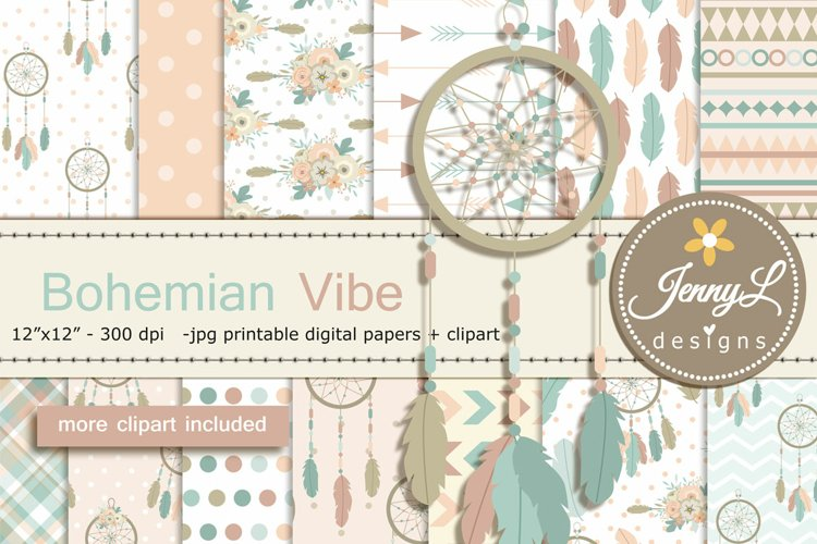 Bohemian Tribal Digital Papers and Clipart