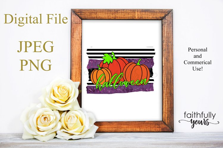 Halloween Pumpkins Sublimation Design PNG JPEG example image 1