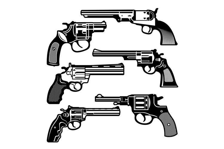 Monochrome illustrations of retro weapons. Revolvers vintage example image 1