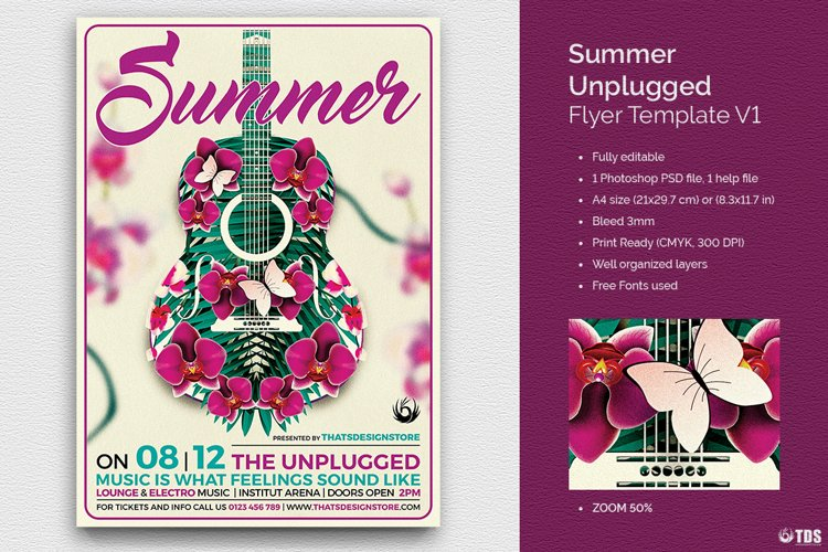 Summer Unplugged Flyer Template V1 example image 1