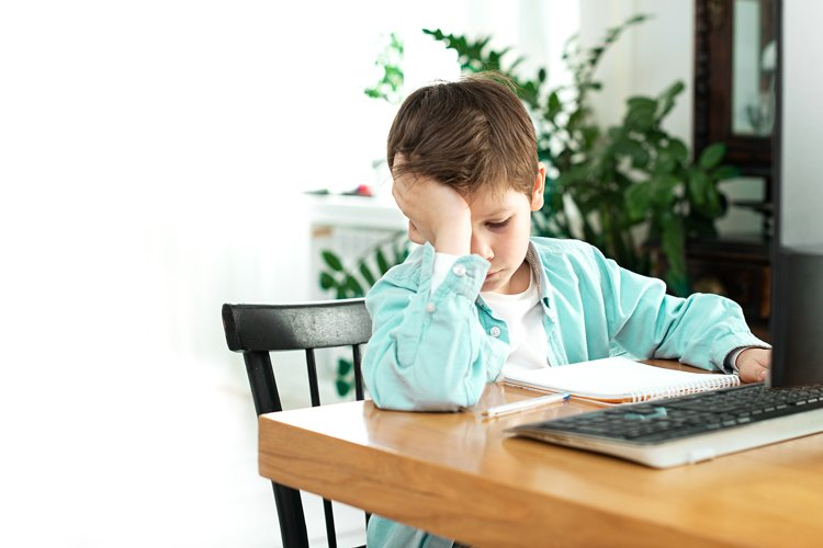 Kids and gadgets. Distance learning, education, workplace