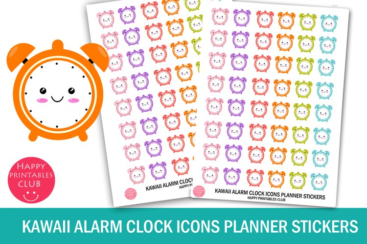 Kawaii Alarm Clock Icons Planner Stickers- Clock Stickers example image 1
