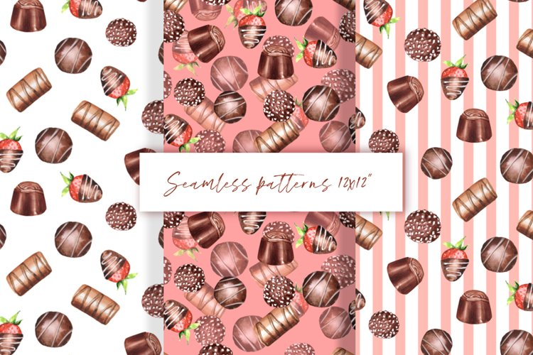 Chocolate seamless patterns example image 1