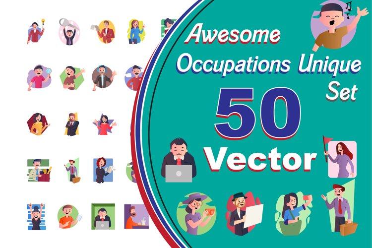 50X Unique/Different Occupations icon Illustrations.
