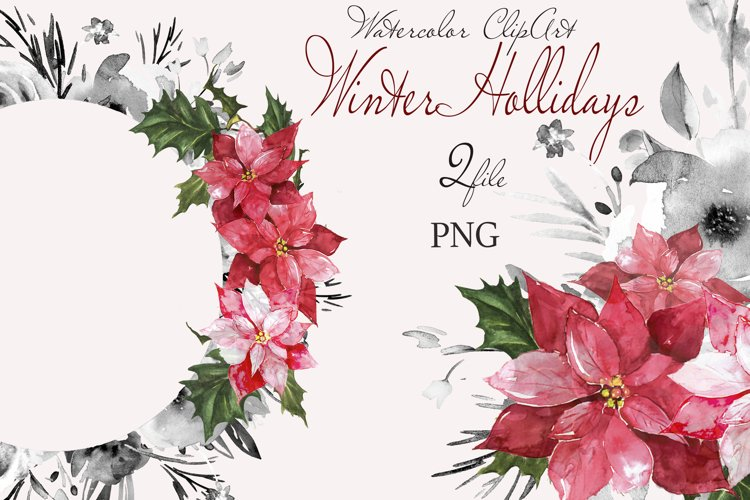 "Christmas watercolor clipart""CHRISTMAS FLORAL"" example image 1"