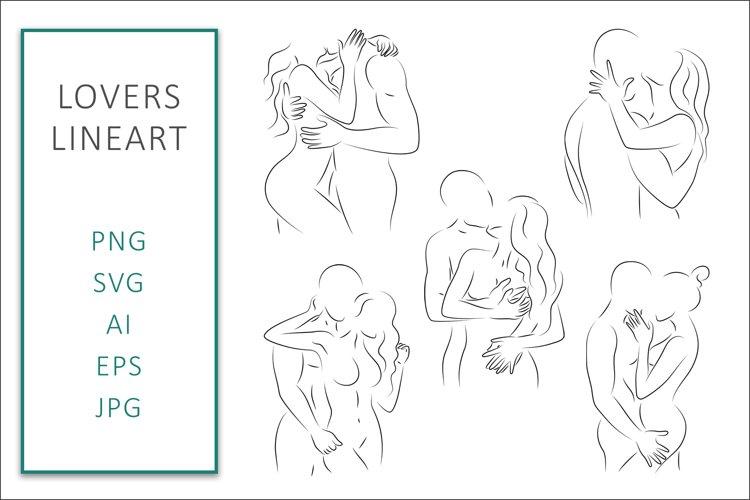 Lovers SVG Line Art Bundle Graphic Vector