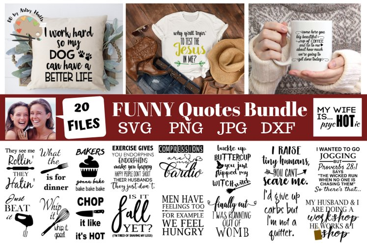 Funny quotes Bundle, Humorous designs, funny svg bundle dxf example image 1