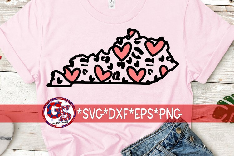Valentine's Day   Heart Leopard Print Kentucky SVG DXF EPS example image 1