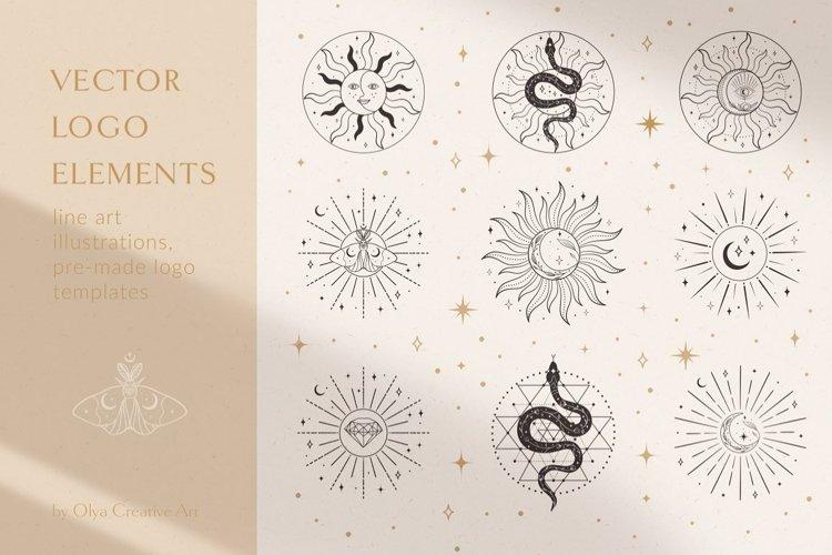Sacred Sun Logo Design Illustrations. Decorative moon, stars