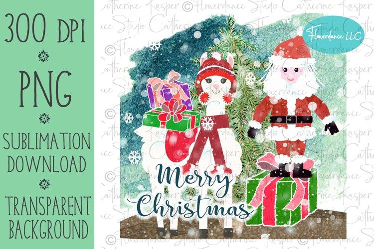 Santa and Llama PNG Christmas Sublimation Design example image 1