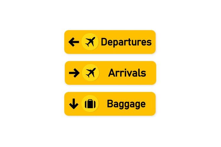 Airport badge set. Departures, arrivals, luggage. Airport