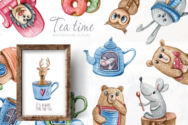Watercolor cute forest animals clipart. Tea time collection example