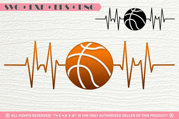 Basketball  Hearbeat  EKG   SVG DXF PNG EPS Cutting File