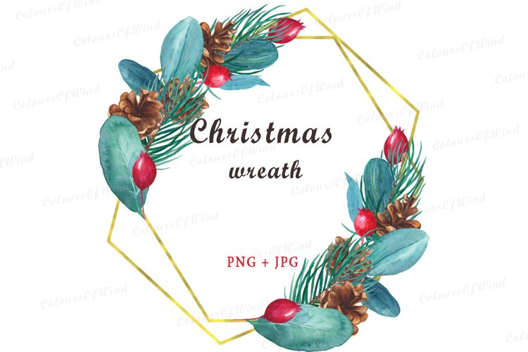 Watercolor Merry Christmas Golden Geometrical Frame example image 1