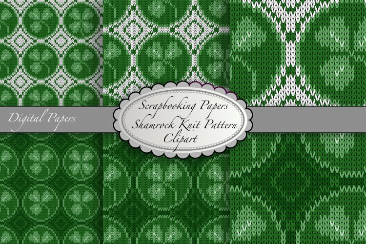 Seamless shamrock four leaf clover knitted pattern.