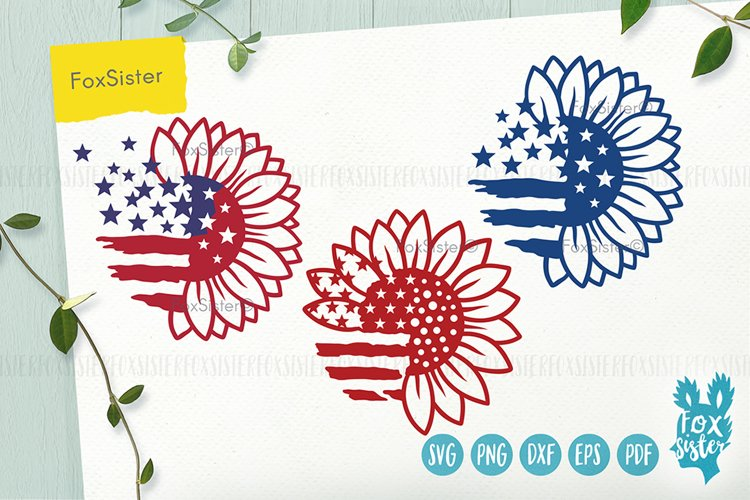 Sunflower svg, Patriotic Sunflower Svg, USA Flag Svg