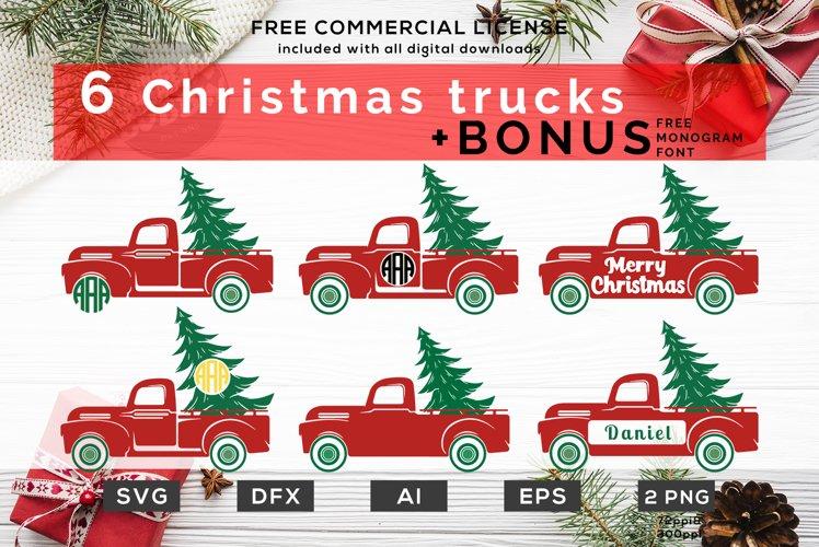 Monogram Trucks SVG - Christmas Monogram SVGs Bundle example image 1