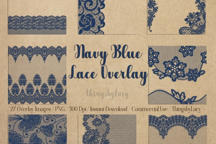 27 Navy Blue Lace Border Frame Overlay Transparent Images example image 1