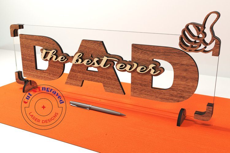 Dad sign vector files, father's day decor. Glowforge ready. example image 1