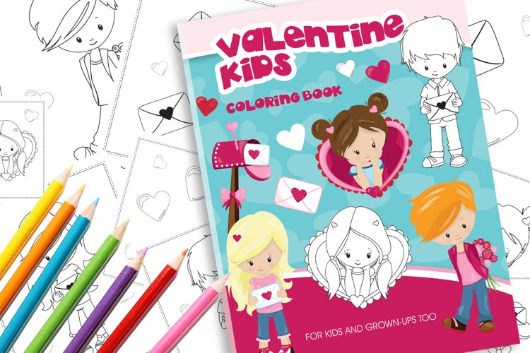 Valentine Kids Coloring Book example image 1