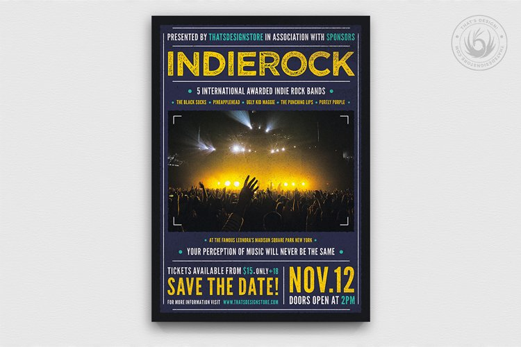 Indie Rock Flyer Template V1 example image 1