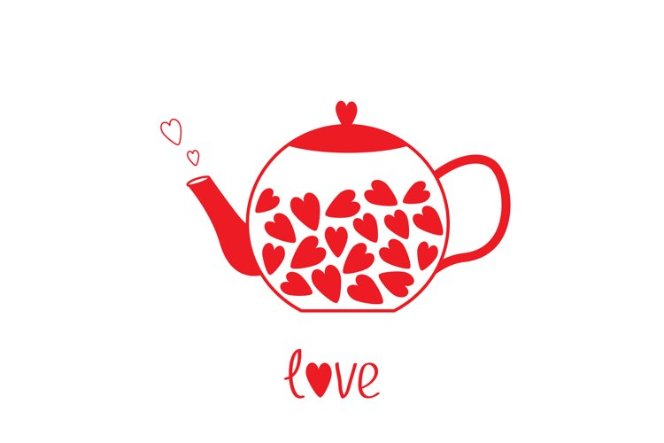 Love teapot with red hearts. Valentines Day. example image 1
