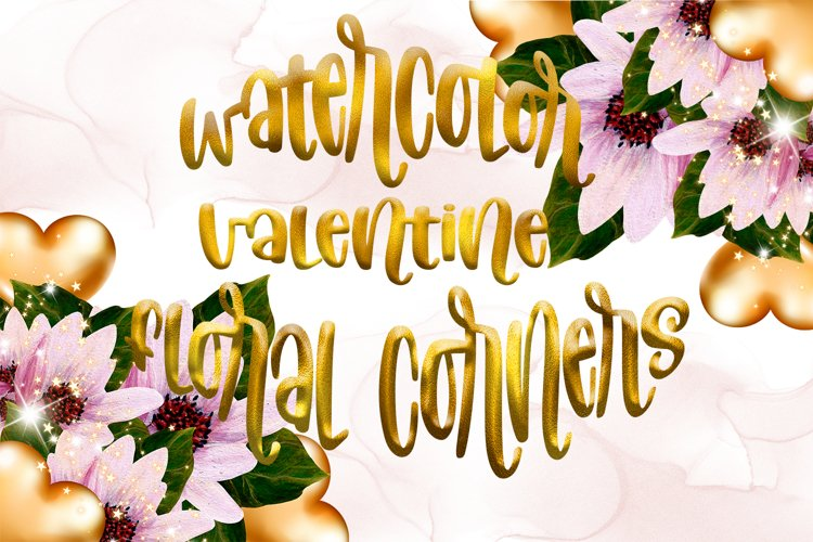 Watercolor Valentine Floral Corners example image 1