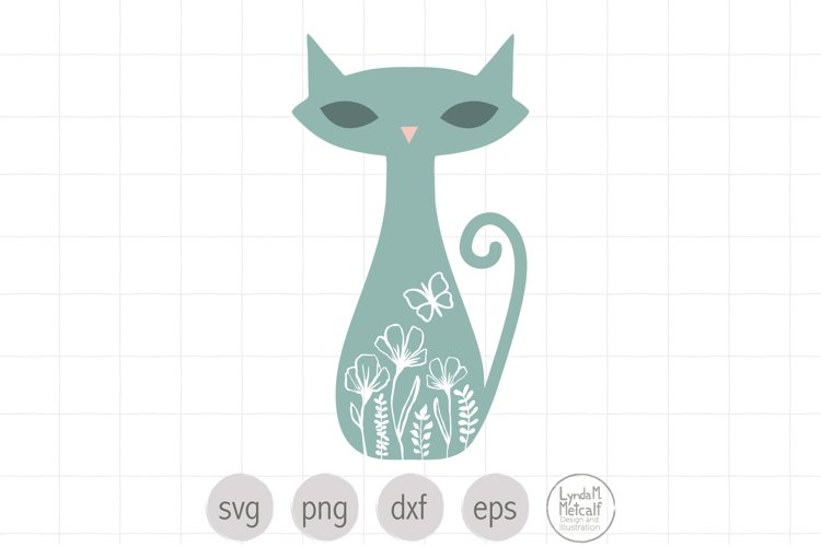 Floral Cat Silhouette Svg, Flower Cat SVG, Cat with Flowers
