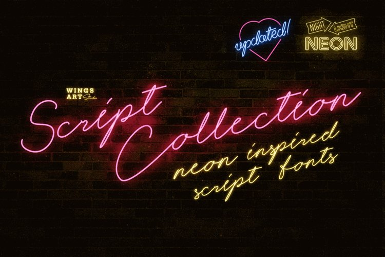 Night Light Neon Font - Script example image 1
