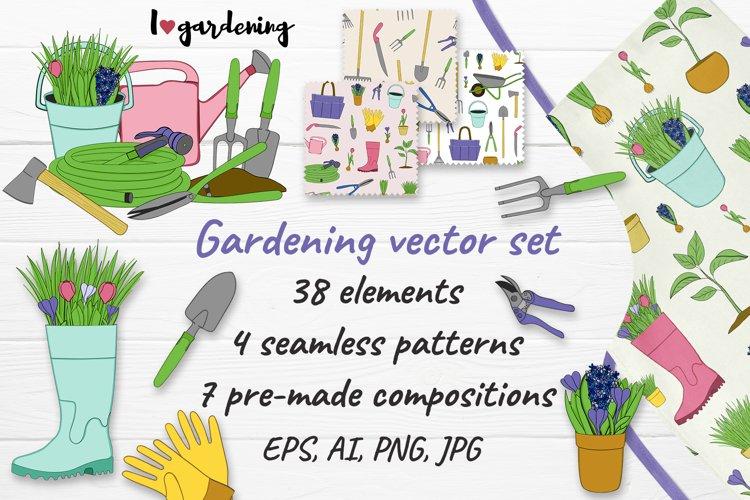 Vector collection of garden clip art, patterns, compositions