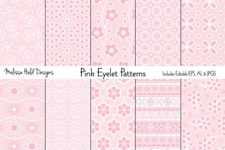 Pink Eyelet Embroidery Patterns