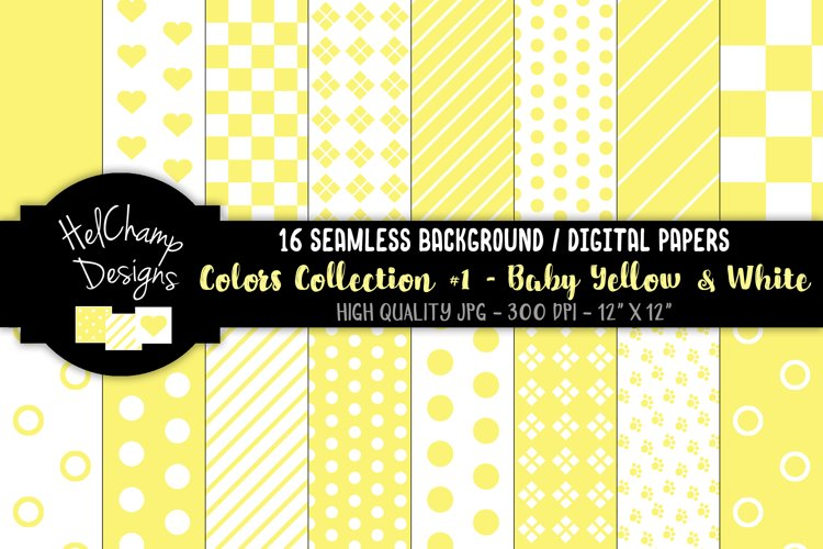 16 seamless Digital Papers - Baby Yellow and White - HC092