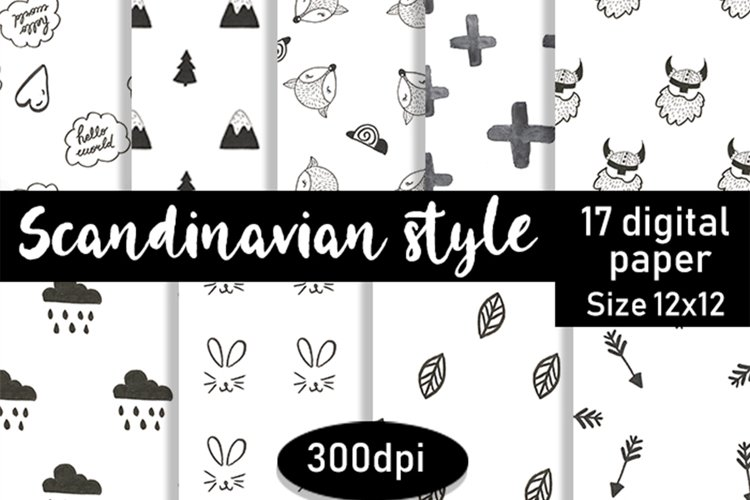 Scandinavian style digital paper, Scandi pattern